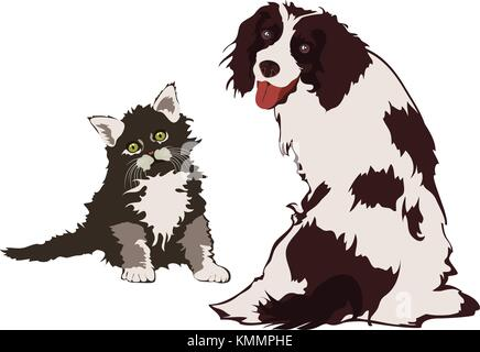 Dog and Cat, vector illustration - Stock Photo