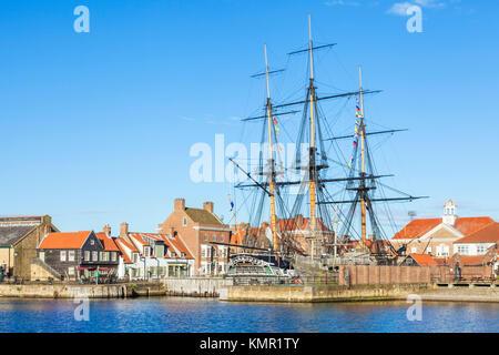 england hartlepool england hartlepool marina H M S Trincomalee a napoleonic war navy frigate restored as a living - Stock Photo