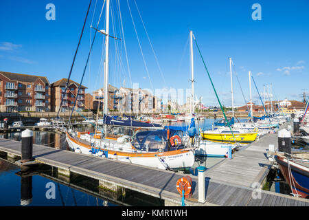 england hartlepool england hartlepool marina yachts moored inside the marina at hartlepool county durham northumberland - Stock Photo