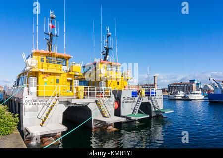 england hartlepool england hartlepool marina hartlepool ocean wind  wind turbine service boats county durham northumberland - Stock Photo