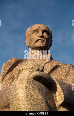 Rainis monument in Riga, Latvia. Rainis was the pseudonym of Jānis Pliekšāns (1865 – 1929), a Latvian poet and playwright. - Stock Photo