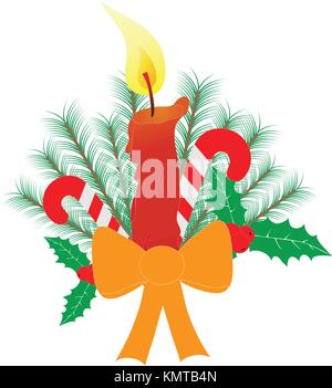 Christmas candles with a large ribbon bow candy canes holly berry pine tree branches isolated on white background. - Stock Photo