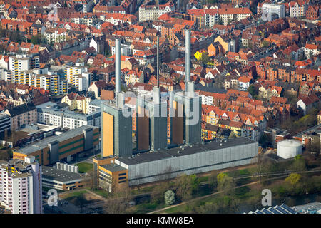 Cogeneration plant Linden, the three warm brothers, natural gas power plant Hanover, chimneys, Hanover, state capital, - Stock Photo