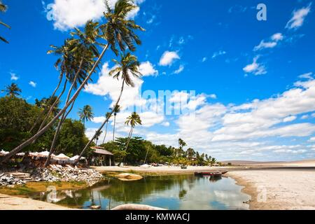 in the beautiful fisherman village of Jericoacoara in ceara state brazil - Stock Photo