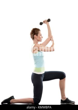 woman doing workout on white isolated background  Lunges Triceps Stretch - Stock Photo