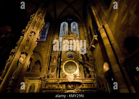 astronomical clock in Cathedral Notre Dame, Strasbourg, Alsace, France - Stock Photo