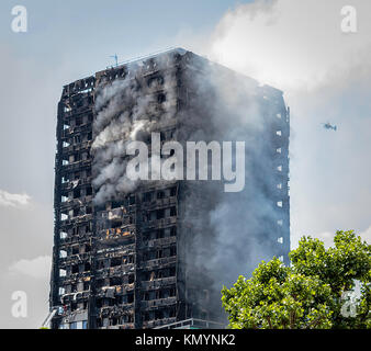 Grenfell Tower Fire, West London, United Kingdom. 14th June, 2017 - Stock Photo