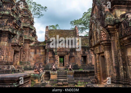A view of Banteay Srei temple, famous for its wall carvings, situated near Siem Reap, Cambodia. - Stock Photo