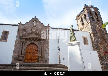 Santa Cruz de La Palma Plaza de Espana Iglesia Matriz de el Salvador church - Stock Photo