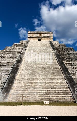 View up the stairs of El Castillo, the Mayan Pyramid to the god Kukulkan, the feathered serpent, at Chichen Itza, - Stock Photo