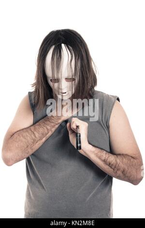 Scary horror dying man stabbed with knife, isolated on white background - Stock Photo