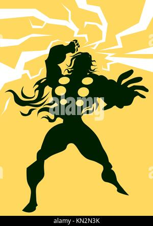 Thor, Black Silhouette of a Man, with Lightning Bolts, Yellow Background, vector illustration - Stock Photo