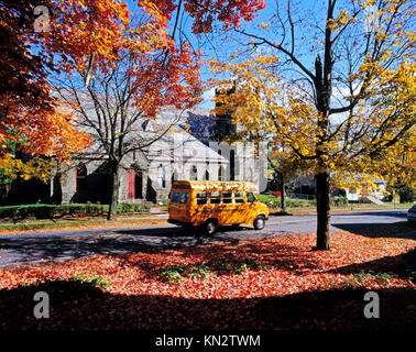 Fall Colors and Church, Kingston, Ulster County, New York State, America - Stock Photo
