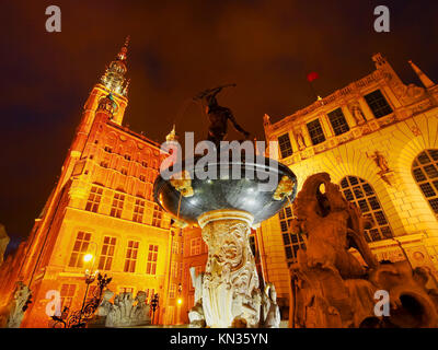 Night view of Dlugi Targ - Long Market Street in Gdansk, city in the northen Poland. - Stock Photo