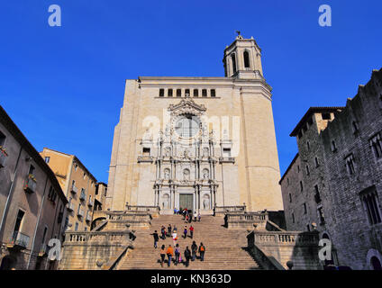 Cathedral in Girona - beautiful spanish city in the province of Catalonia. - Stock Photo