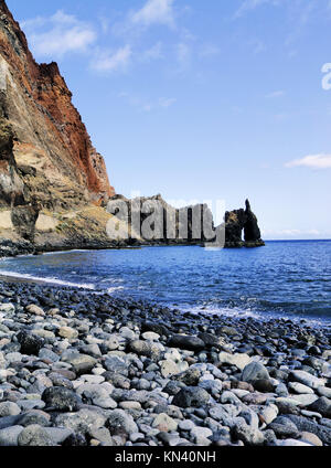 Natural rock arch - Roque de la Bonanza on Hierro, Canary Islands, Spain. - Stock Photo