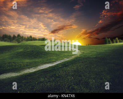 Mystical sunset over summer green hills, abstract environmental backgrounds. - Stock Photo