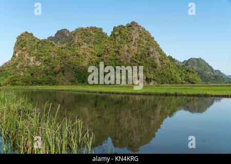 Karst mountains, near Hpa-an, Myanmar - Stock Photo