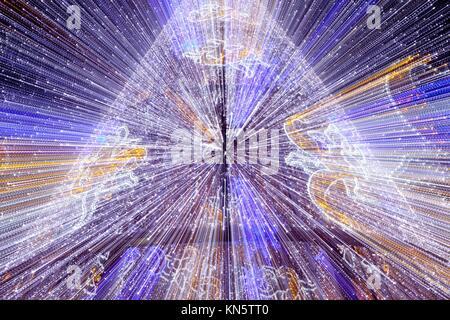 Led Christmas tree decoration in motion zoomed shot. - Stock Photo