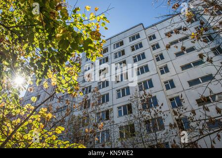 Apartment house in Pripyat town, Chernobyl Nuclear Power Plant Zone of Alienation, Ukraine. - Stock Photo