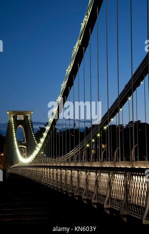 Clifton Suspension Bridge by Brunel, Illuminated at Night, England, UK. - Stock Photo