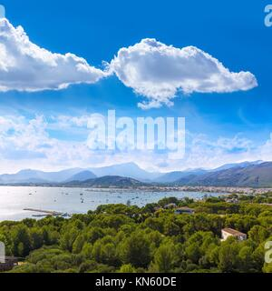 Majorca Port of Pollenca Pollensa aerial from Formentor in Mallorca Balearic islands. - Stock Photo