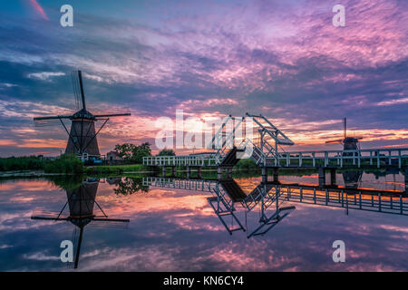 Windmill village Netherlands Kinderdijk - Stock Photo