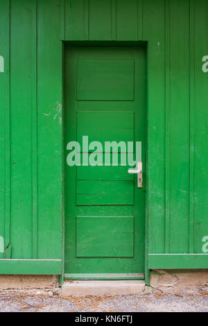 Bright Green Wooden Door Abstract Lime Farm Shed Entrance Closed Stand Colorful - Stock Photo