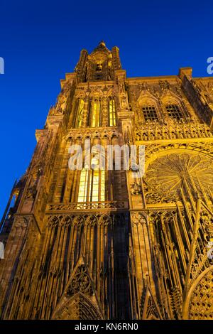 Cathedral of Strasbourg, Bas-Rhin, Alsace, France. - Stock Photo