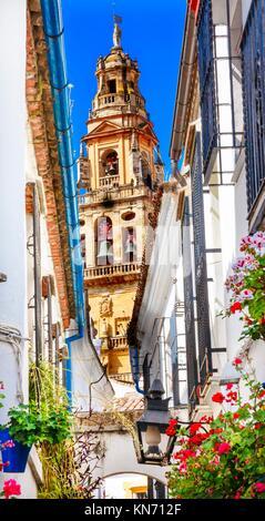 Flower Street Calleja de las Flores Old Torre del Alminar Bell Tower Mezquita Cordoba Andalusia Spain. Mezquita - Stock Photo
