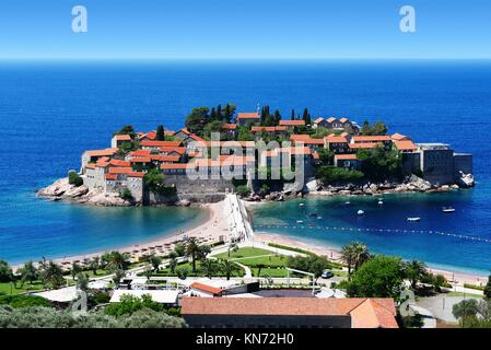 Sveti Stefan island near city of Budva, Montenegro on Adriatic coast. - Stock Photo