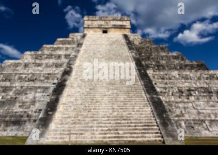 Blurred background of View up the stairs of Kukulkan Pyramid at Chichen Itza, Yucatan, Mexico. - Stock Photo