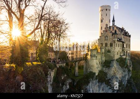 Schloss Lichtenstein Castle Germany Baden-Wuerttemberg Swabian Alb Mountain Castle Fairy Tale Landscape Fortress - Stock Photo