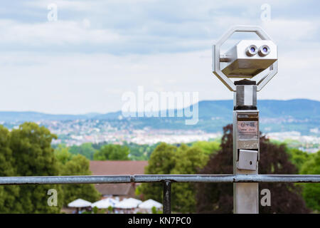 Tourist Paid Binoculars Overlooking City Landscape Blurred Depth of Field Isolated Nature - Stock Photo