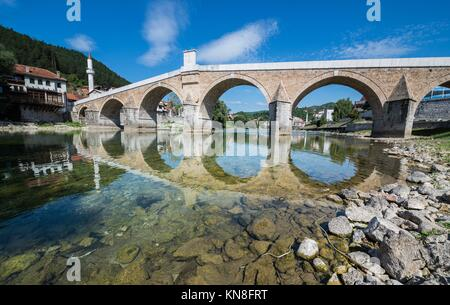 old bridge over Neretva river in Konjic, Bosnia and Herzegovina. - Stock Photo