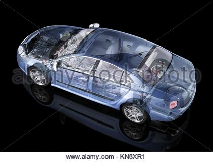 Generic sedan car detailed cutaway representation, with ghost effect, on black backgound. Side/Rear perspective - Stock Photo