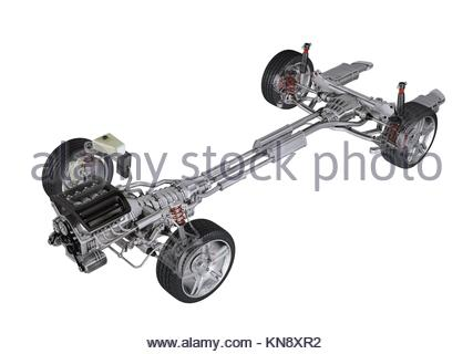 Under carriage technical 3 D rendering, of a generic sedan contemporary car. Perspective view On white background, - Stock Photo