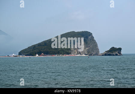 Island of St. Nicholas (Sveti Nikola), Budva, Montenegro - Stock Photo