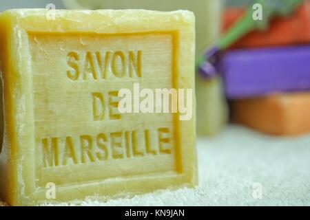 Marseille soap natural Multicolor soaps handmade with organic oil of lavender ond another flowers. - Stock Photo