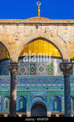 Dome of the Rock Arch Islamic Mosque Temple Mount Jerusalem Israel. Built in 691 One of most sacred spots in Islam - Stock Photo