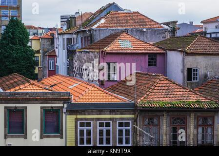 Old apartment buildings in Santo Ildefonso district of Porto city on Iberian Peninsula, second largest city in Portugal. - Stock Photo