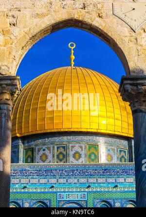 Dome of the Rock Islamic Mosque Temple Mount Jerusalem Israel. Built in 691 One of most sacred spots in Islam where - Stock Photo