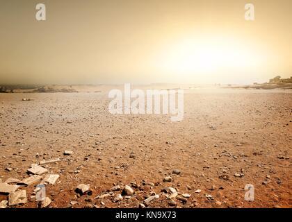 Sandy desert in Egypt at the sunset. - Stock Photo