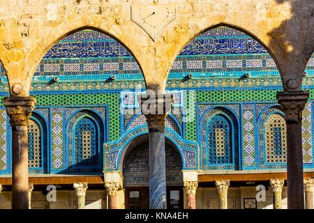 Mosaics Arches Dome of the Rock Islamic Mosque Temple Mount Jerusalem Israel. Built in 691 One of most sacred spots - Stock Photo