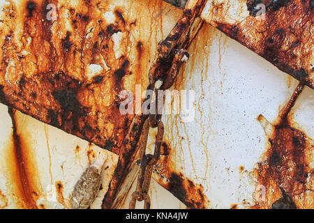 Rusty surface on a fishing boat in Santa Pola - Stock Photo