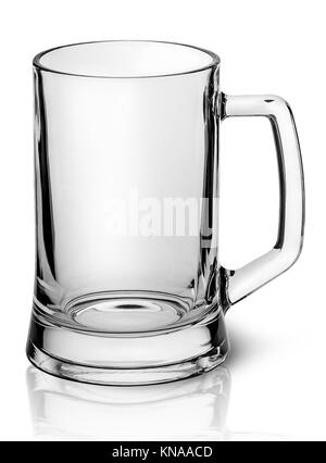 Empty beer mug top view isolated on white background. - Stock Photo