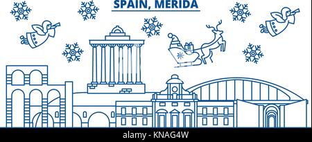 Spain, Merida winter city skyline. Merry Christmas, Happy New Year decorated banner with Santa Claus.Winter greeting - Stock Photo
