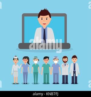 doctor inside laptop and staff medical people team - Stock Photo