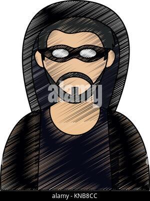 Hacker man cartoon - Stock Photo