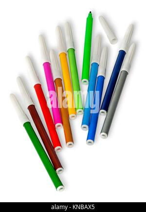 Scattered colored felt tip pens isolated on white background. - Stock Photo
